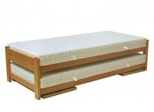 Rozkládací postel z masivu DUELO 90x200/180x200, včetně roštů a matrací, masiv buk