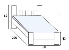 Manželská postel z masivu - dvoulůžko TELLUS DUO-14, DUB