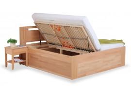 Zvýšená postel s úložným prostorem VALENCIA senior, boční výklop, masiv buk
