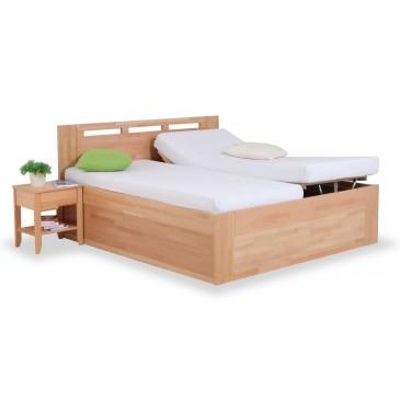 Zvýšená postel s úložným prostorem VALENCIA senior, čelní výklop, masiv buk