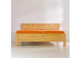 Manželská postel - dvojlůžko LEONA 160x200, 180x200, masiv buk - tmavý ořech