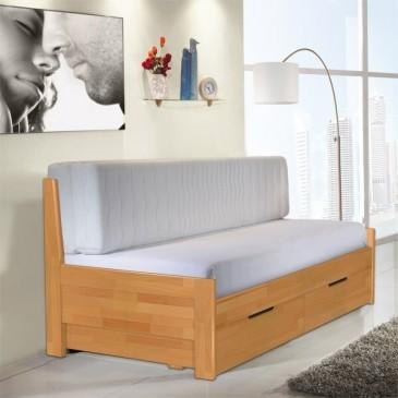 Rozkládací postel s úložným prostorem TANDEM KLASIK 90 x 200, jádrový buk