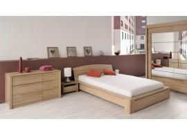 Rozkládací postel z masivu DUELO 90x200/180x200, včetně roštů a matrací, buk