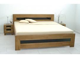 Manželská postel z masivu - dvoulůžko SALMA 180x200, buk - moření tabák
