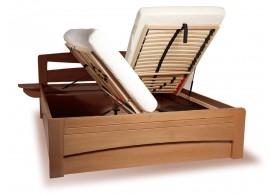 Zvýšená postel s úložným prostorem EVITA 2 senior 160x200, 180x200, masiv buk - moření tabák