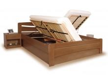 Manželská postel s úložným prostorem EVITA 6 senior 160x200, 180x200, masiv buk - moření tabák