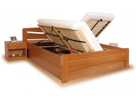 Zvýšená postel s úložným prostorem EVITA 6 senior 160x200, 180x200, masiv buk - moření třešeň