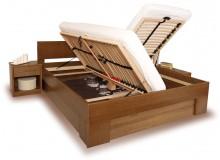 Manželská postel s úložným prostorem VAREZZA 6B 160x200, 180x200, masiv buk - moření tabák