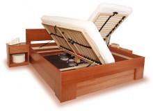 Manželská postel s úložným prostorem VAREZZA 6B 160x200, 180x200, masiv buk - moření třešeň