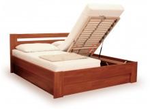 Manželská postel s úložným prostorem IVA, výklop 160x200, 180x200, buk - moření třešeň