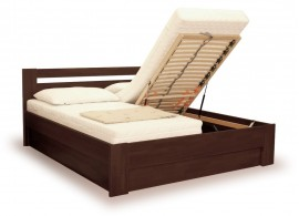 Manželská postel s úložným prostorem IVA, výklop 160x200, 180x200, buk - moření wenge