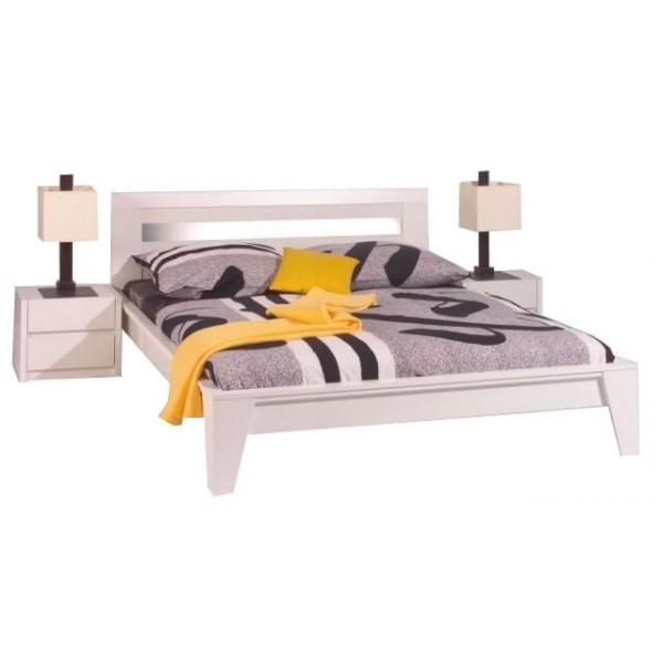Moderní manželská postel LOUGNE 180x200, bílá lesk