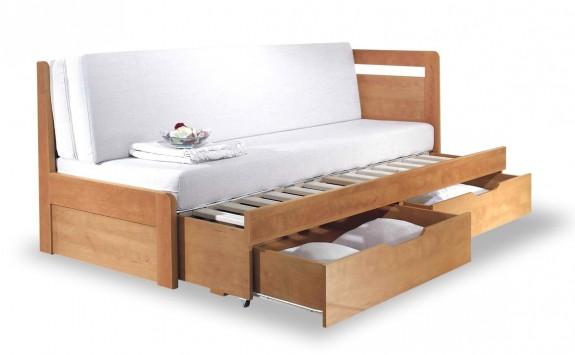 Rozkládací postel s úložným prostorem TANDEM KLASIK pravá - oblá, 90x200
