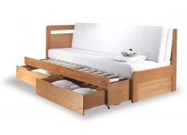 Rozkládací postel s úložným prostorem TANDEM KLASIK levá - oblá, 90x200