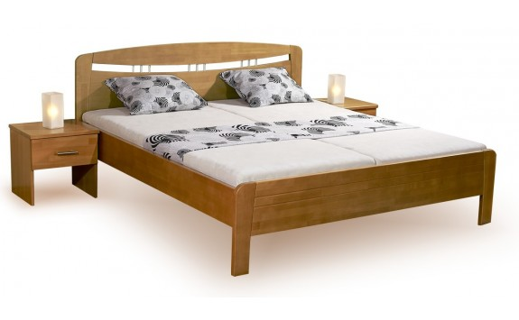 Zvýšená postel s úložným prostorem VALENCIA senior, výklop, masiv buk - bílá