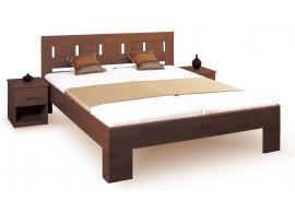 Manželská postel - dvojlůžko LEONA L1 160x200, 180x200, masiv buk - tmavý ořech