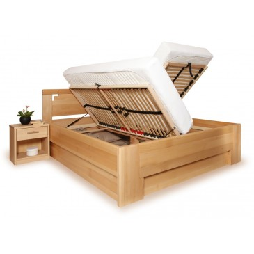 Zvýšená postel s úložným prostorem DELUXE 2. 160x200, 180x200, masiv buk