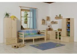 Dětská poschoďová postel s úložným prostorem BR407, masiv smrk