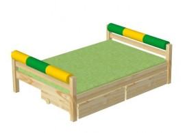 Dětská poschoďová postel s úložným prostorem BR402, masiv smrk