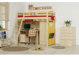 Dětská poschoďová postel s přistýlkou a úložným prostorem BR408, masiv smrk