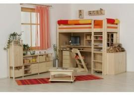 Dětská poschoďová postel s přistýlkou a úložným prostorem BR409, masiv smrk