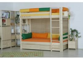 Zvýšená postel s úložným prostorem DELUXE 2. senior 160x200, 180x200, masiv buk - bílá