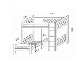 Dětská rozkládací postel s přistýlkou a úložným prostorem MARTIN