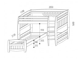 Dětská postel s úložným prostorem OTÝLIE