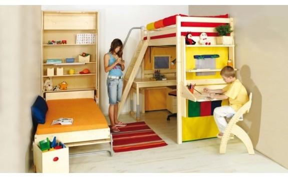Patrová postel se skříní a skluzavkou D2-DONALD, buk, javor