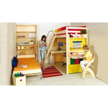 Patrová postel se skříní a skluzavkou D2-DONALD