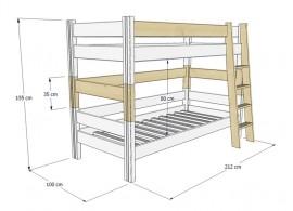 Dětská postel AGATA 90x200, masiv smrk