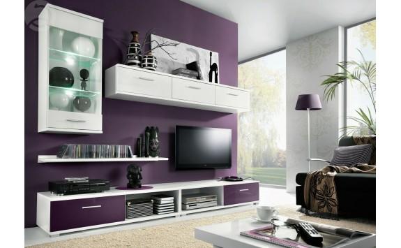 Moderní obývací stěna TAHITI, bílá-fialová