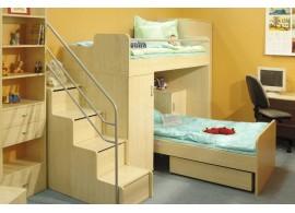 Dětská postel s úložným prostorem BR438, masiv smrk