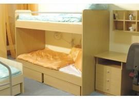 Záclonka pod zvýšenou postel MONTERO-10, růžovo-modrá