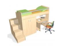 Patrová postel se skříní a PC stolem D57-DONALD