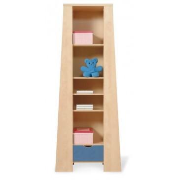 Knihovna vysoká úzká PR-08-PETR, bříza-modrá