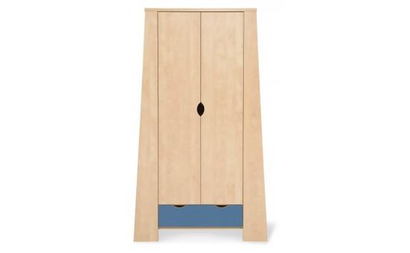 Skříň vysoká šatní PR-10-PETR, bříza-modrá