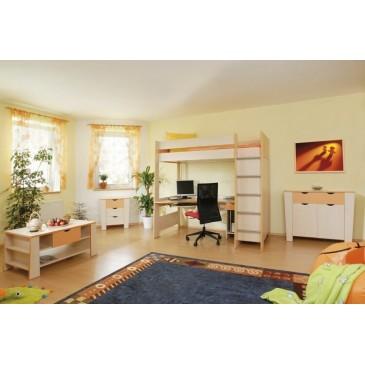 Zvýšená postel s úložným prostorem Riči, 80x200, 90x200 cm, masiv buk