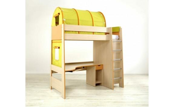 Patrová postel se skříní a stolem 90x200 PA-13-PETRA, bříza-oranžová