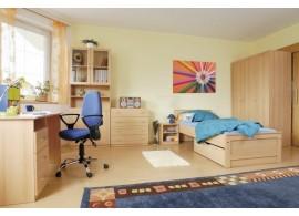 Multifunkční postel se skříní a stolem Kity, lamino dub sonoma-fialová