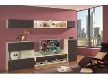 Moderní obývací stěna LEO, bílá-grey matrix