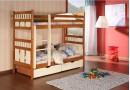Dětská patrová postel se zábranou a úložným prostorem Oliver, masiv borovice