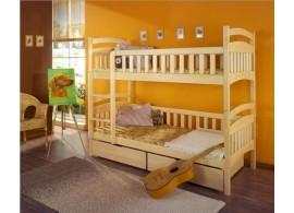 Dětská patrová postel se zábranou a úložným prostorem Dominik, masiv borovice