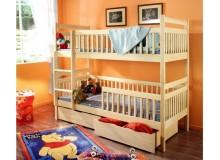 Dětská patrová postel se zábranou a úložným prostorem Alex, masiv borovice