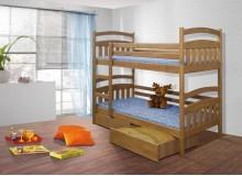 Dětská patrová postel se zábranou a úložným prostorem Jakub, masiv borovice