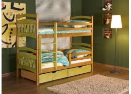 Dětská patrová postel se zábranou a úložným prostorem Jakub II., masiv borovice