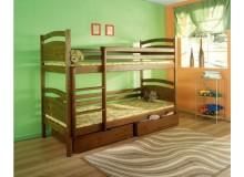 Dětská patrová postel se zábranou a úložným prostorem David, masiv borovice