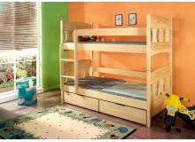 Dětská patrová postel se zábranou a úložným prostorem Viktor, masiv borovice