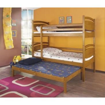 Poschoďová postel s přistýlkou a úložným prostorem pro 3 děti Cezar, masiv borovice