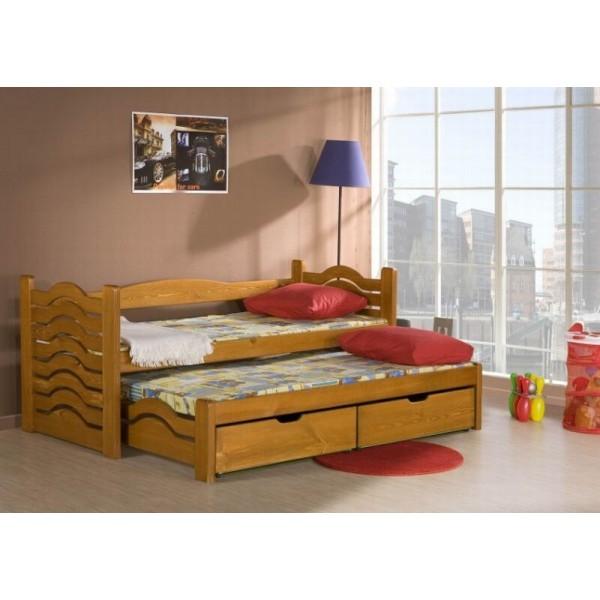 Rozkládací postel s přistýlkou a úložným prostorem Mikolaj, masiv borovice
